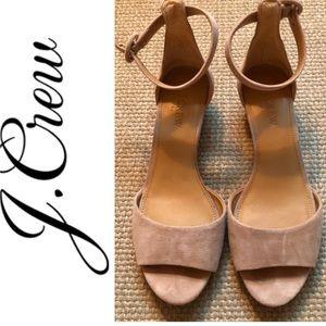 Jcrew Tan Suede wedge sandals